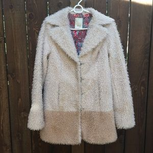 Anthro Elevensies Colorblock Teddy Fuzzy Coat